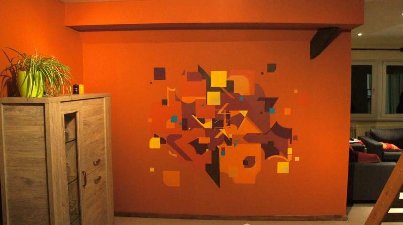 Exemples de chantiers de peinture et fresques for Peinture mural salon