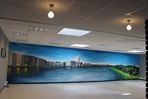 Peinture Murale Trompe L Oeil cas concret de chantier de fresque murale en trompe-l'œil à liège